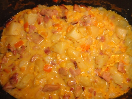 Scalloped Potatoes Corn and Ham